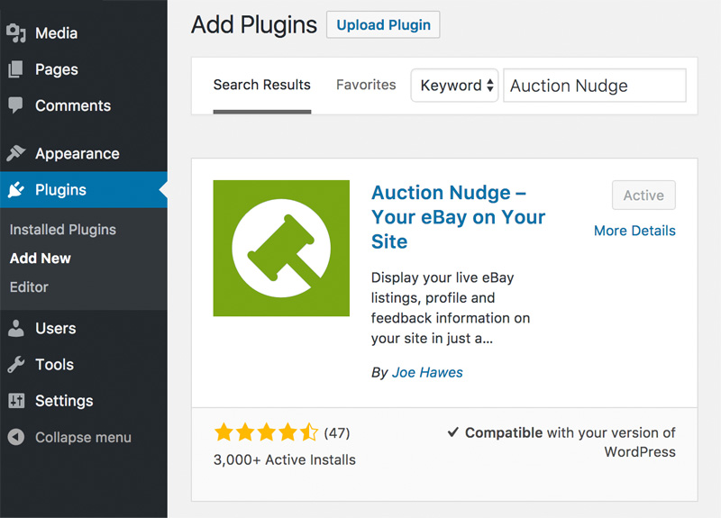 Adding the Auction Nudge plugin from within WordPress admin