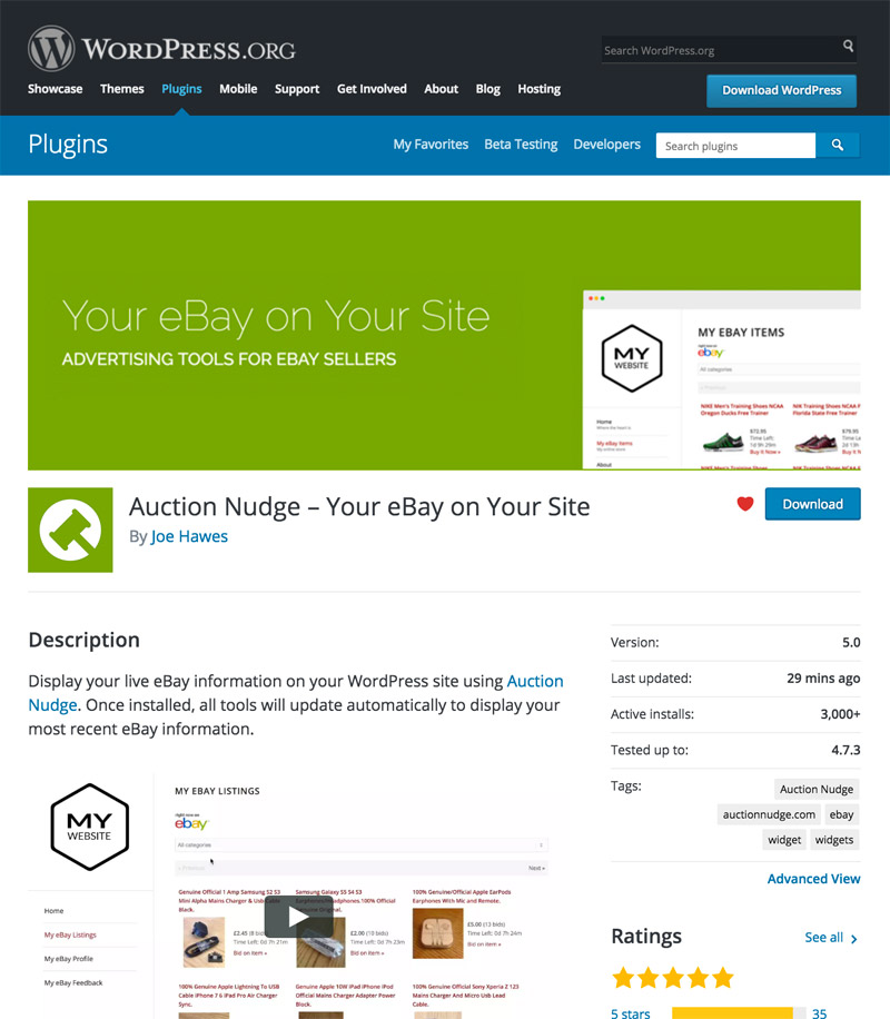 Auction Nudge on the WordPress Plugin Directory